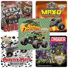 Monster Jam Stickers Monster Trucks Birthday Party Favors Reward Charts Parents Merit Awards Teachers Stickers Loot Bags Favs