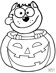 Small Picture Black Cat Sitting Inside of a Pumpkin coloring page Free