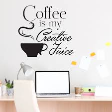 cafe shop wall decal quotes coffee is my creative juice vinyl wall sticker for kitchen room on vinyl wall art quotes for kitchen with cafe shop wall decal quotes coffee is my creative juice vinyl wall