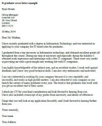 Graduate Cover Letter Examples It Graduate Cover Letter Example Learnist Org