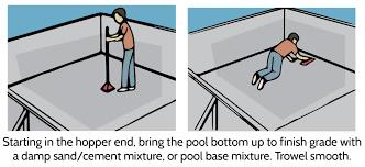 pool kit installation troweling