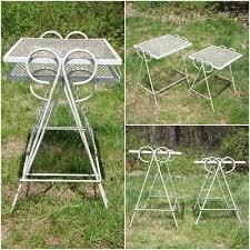 salterini outdoor furniture. Vintage Set Wrought Iron \u0026 Wire Mesh Metal Nesting Tables Patio Stands Salterini Outdoor Furniture
