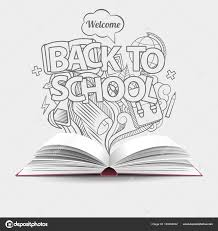 Welcome Back To School Idea Gray Monochrome Doodles Icons And Open