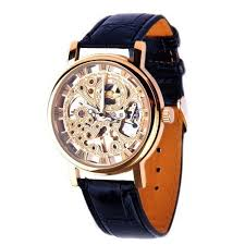 mens mechanical skeleton watch hand wind up gold dial black mens mechanical skeleton watch hand wind up gold dial black leather strap mw 06