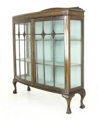antique mahogany bow front glass corner china cabinet by finch furniture company details 2 curved glass doors 3 wooden shelves beautiful