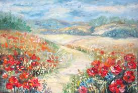 painting poppies oil painting poppies gift for woman painting poppies landscapes handmade painting poppies painting field of poppies