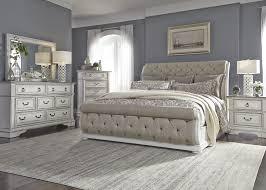 Abbey Park Antique White Upholstered Sleigh Bedroom Set - 1StopBedrooms.
