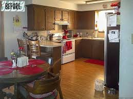 kitchen remodel on a budget dark painted cabinets l and stick backsplash and