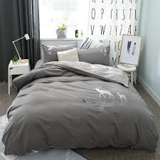 100 cotton grey brown bedding set queen king size deer elephant bed set cotton bedsheets duvet quilt cover set pillowcase striped duvet cover fl duvet