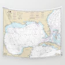 Gulf Of Mexico Authentic Nautical Chart No 411 Wall Tapestry By Sheilacreates