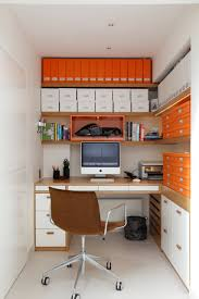 trendy office ideas home. Charming Office Ideas For Small Space With Built In Corner Desk And Orange White Plus Swivel Chair Paper Storage Also Walls Trendy Home M