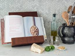 stylish wooden cookbook or tablet stand