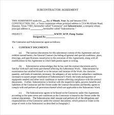 Subcontractor Agreement Format Subcontractor Agreement Texas Rome Fontanacountryinn Com