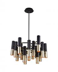 19 light down chandelier with matte black satin gold finish