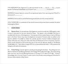 Catering Agreement Sample Catering Contract Template Free Sample Catering