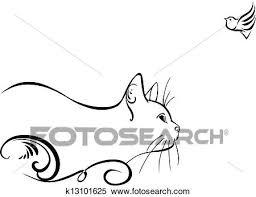 ネコ そして A 鳥 クリップアート切り張りイラスト絵画集