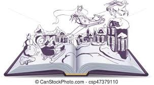 open book ilration fairy tale snow queen