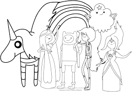 Small Picture Finn and the princesses Adventure Time coloring pages