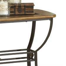 bowery hill slate top console table in brown and medium oak