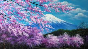 the cherry blossoms in the mt fuji acrylic painting slideshow version