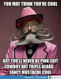 Pink suit fancy mustache cool | Memes.com via Relatably.com
