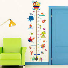 Us 5 99 Large Removable Measure Height Sticker Cartoon Cats Fishs Sea World Growth Chart Kid Height Chart Wall Kids Room Wall Decorative In Wall