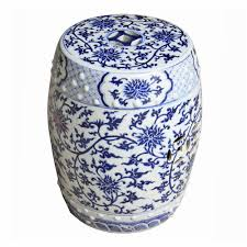 ask question about blue and white twisted lotus garden stool