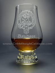 glencairn whisky glass custom engraved clan badge davidson