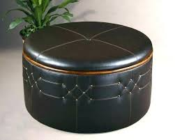 round leather ottoman coffee table with storage round leather ottoman coffee table black with red storage