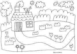 Disegno Per Bambini Da Colorare Gratis Casa Casetta Campagna Natura