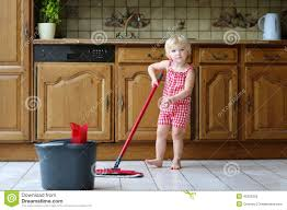 Wet Kitchen Floor Toddler Girl Mopping Kitchen Floor Stock Photo Image 45323247