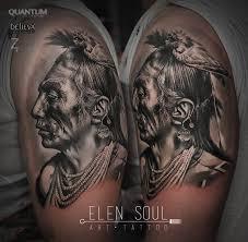 татуировки индеец в стиле реализм портретизм черно серая хоррор