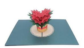 Poinsettia Card 2 Paper Love Poinsettia Christmas Popup Card 3d Pop Up