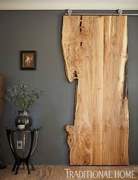 live edge wood sliding door traditional home cathleen gouveia design