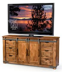 solid parota wood 70 tv stand with sliding door in natural finish