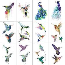 Hxman 12 шт птица колибри временные татуировки наклейки для женщин
