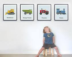 toddler room wall art set of four prints transportation print set big boys room boys wall art boys truck decor tractor wall art on wall art toddler room with toddler boy room etsy
