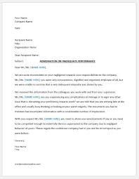 Employee Performance Letter Sample Warning Letter To Employee For Bad Performance Word