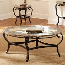 images round glass coffee table metal base