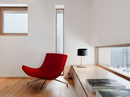 Red Lounge Chair For Bedroom With Modern Chic Design Also Wood Floor