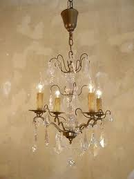 beautiful antique french chandelier brass rare crystal old re