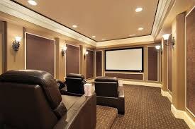 photo of home theater with fabric covered acoustic wall panels large