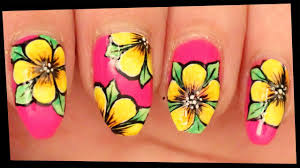 Bright Flower Nail Art Design Tutorial Yellow Flowers On Pink Nail Art With Tutorial Video