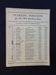 Vintage 1964 Indy Indianapolis 500 Starting Position Lap