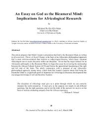 An Essay On God As The Bicameral Mind Journal Of Pan African