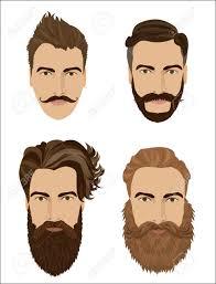 男の髪とひげのスタイル流行に敏感なファッション高詳細なベクトル