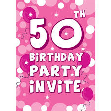 50th Birthday Invitation Cards Pink Sparkle Small