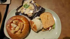 panera bread bowl to go. Beautiful Bread Panera Bread Amazing Soup In A Bread Bowl Vegetarian Sandwich And Potato  Chips Intended Bread Bowl To Go