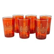 details about moroccan tea glasses and candle holder orange set of 6