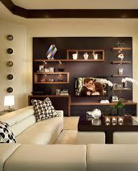 chic modern living room w built in shelving